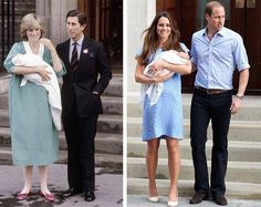 Princess Diana with Charles & Kate Middleton with Prince William