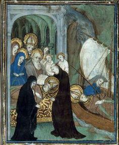 Enlèvement du corps de saint Martin. Vie de saint Martin. Sulpice Sévère. Le Mans. XVe.
