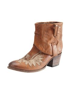 Wing detail cowboy boot - Wrap - Great boots in tan coloured, soft leather with fixed turned down cuffs and tabs to pull them on. Inset with a cut out design in a paler leather.  Love-worn with a deliberately dusty looking heel and sole. 100% Leather.