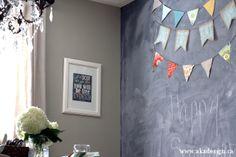 Walls – Analytical Gray SW7051 by Sherwin Williams Chalkboard Wall – Rust-Oleum Chalkboard Paint in Black