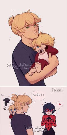 que fofos o papai Adrien e a mamãe Marinette muito fofos!! *0* adorei ;)