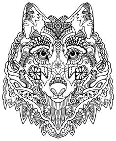 wolf abstract doodle zentangle coloring pages colouring adult detailed - Art Therapy Coloring Pages Animals