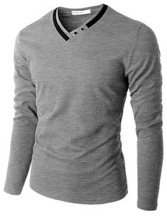 2f4d04031162 Doublju Men s Long Sleeve T-Shirt with Neck Detail  doublju Mens Fashion,  Fashion