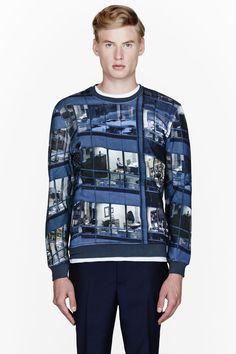 CARVEN Blue office print sweatshirt
