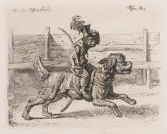 from the British Museum, Monkey dressed as a soldier and holding a sword in his right hand riding on the back of a poodle-dog. Dolphin Teeth, British Museum, Poodle, Vintage World Maps, Moose Art, Gallery, Dogs, Monkeys, Animals