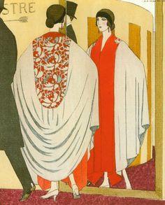 Parisian Fashions circa 1920  Evening Coat by Poiret. Artist A.E. Marty.