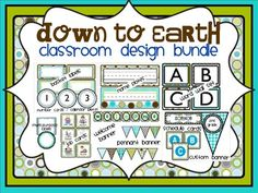 DOWN TO EARTH - classroom design bundle (polka dot theme). I've designed a collection of classroom decor products for teachers who want to make their classroom cohesive without doing an over-the-top theme. Each of my color scheme packets include ALL of the following items: BASKET LABELS, NAME PLATES, NUMBER CARDS / CALENDAR PIECES, WORD WALL SET, JOB CARDS, BEHAVIOR CLIP CHART, MULTIPURPOSE LABELS, WELCOME BANNER, CUSTOM BANNER, PENNANT BANNER, PLAN BOOK / GRADE BOOK COVER, SCHEDULE CARDS.