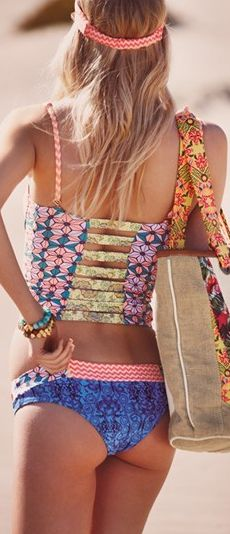Love this bohemian look! perfect style for the beach! :) Maaji Swimwear // 'Mystic Paths' Tankini Top Cheeky Bottoms Bikini