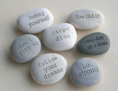 Message Stones  Beach stones with custom text  by sjengraving, $16.00