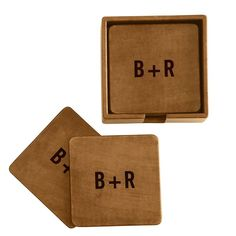 Rustic Leather Boxed Coasters | Mark and Graham So cute!