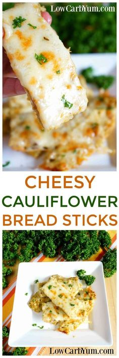 Using the same idea as pizza crust, it's easy to make a low carb cheesy cauliflower breadsticks recipe instead. Simply leave out the pizza sauce! | LowCarbYum.com