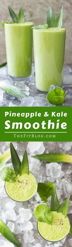 Pineapple Kale Smoothie – This delicious no sugar added smoothie only has 200 calories for a very large serving. Perfect for a workout shake or to cool off in the summer heat. #healthyeating #healthyrecipes #greensmoothies #greensmoothierecipes #diabetesdiet #diabetesrecipes #diabeticdiet  #diabeticfood #diabeticrecipe #diabeticfriendly #lowcarb #lowcarbdiet #smoothie #healthysmoothie #smoothierecipes