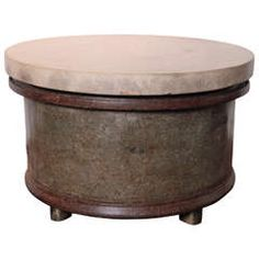 French Footed Barrel End Tables with Thick Limestone Tops