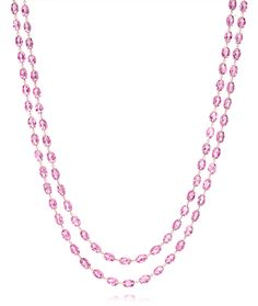 """Cellini Jewelers Pink sapphire Briolette Chain This 40"""" chain is composed of 41.78 carats of briolette oval pink sapphires connected by 18 karat rose gold links."""