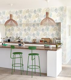 While away lazy Saturday mornings in a bright and airy kitchen with a pot of fresh coffee. Who else's kitchen is the heart of the home? Pastel Interior, Flat Interior, Interior Design, Wallpaper Samples, Print Wallpaper, Pastel Designs, Casamance, Painted Rug, Scion