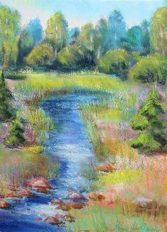 pastel painting pastellmaal metsaoja forest creek 4 Keiu Kuresaar