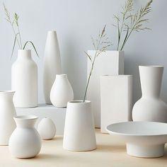 Pure White Ceramic Bottle Pure White Ceramic Vase, Raindrop At West Elm - Decorative Vases Rustic Ceramics, Modern Ceramics, White Ceramics, Vase Centerpieces, Vases Decor, Ikea Vases, Ceramic Painting, Ceramic Vase, Ceramic Decor