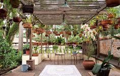 """Não havia espaço suficiente no quintal desta casa para expor a coleção de orquídeas do morador. A solução encontrada pela paisagista Susana Udler foi aproveitar a laje sobre a garagem. """"Integrei esse espaço ao resto da casa e desenhei uma pérgola de ipê"""". Foto: Revista Casa e Jardim"""