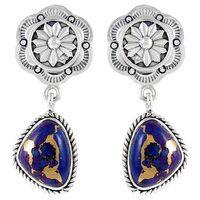 Sterling Silver Earrings Purple Turquoise E1220-C77