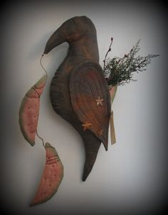 Primitive Crow Door or Wall Doll with by PeculiarlyPrim on Etsy