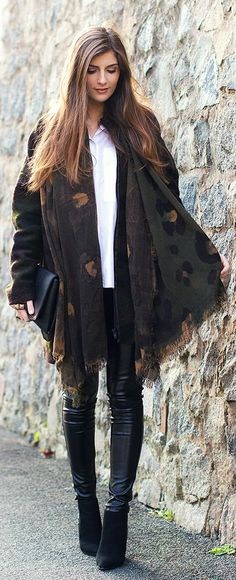Brown Multi Chic Camouflage Oversized Scarf
