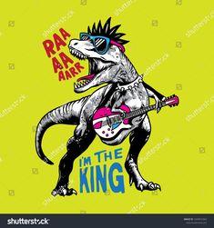 T shirt graphic design for kids , Rock dinosaur illustration vector. T shirt graphic design for kids , Dinosaur Illustration, Illustration Vector, Graphic Design, Graphic Art, Design Projects, Design Ideas, Tyrannosaurus, T Rex, Rock