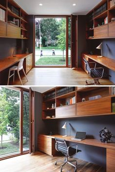 This home office is specifically designed for two, and has an uninterrupted view of the front yard through the floor-to-ceiling window.