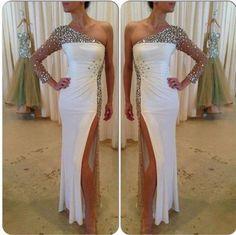 white prom dress, long prom dress, beaded prom dress, one shoulder prom dress, side slit evening dress, BD383