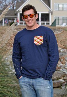 Long Sleeve Maryland Flag Pocket Shirt