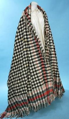 1860 WONDERFUL SCOTTISH TARTAN HUGE SHAWL BLACK/WHITE/RED PLAID