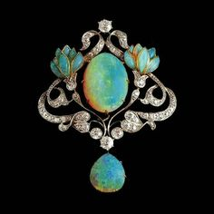 """95af7298064 @belleepoquebeauty on Instagram: """"Art Nouveau opal and diamond pendant /  brooch; Opal, diamond, gold and platinum floral brooch.(from  thefinejewlryshop)."""