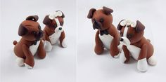 Boxer Dogs, Custom Wedding Cake Topper, Personalized Figurines, Made To Order. $59.00, via Etsy.