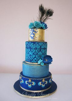 Peacock Blue Wedding Cake