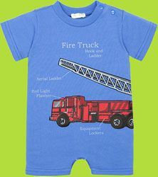 Le Top - Fire Truck Baby Romper