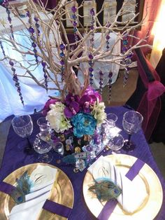 Peacock tablescape, StayMonet Opulent Events