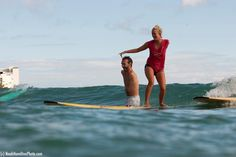 Bethany Hamilton and Nick Vujicic tandem surfing. She lost her arm to a shark, he was born without arms or legs. Look up his inspirational talks on YouTube. They are worth listening to.