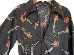 Vintage 1970s men's polyester disco shirt with art nouveau-style flowers by Career Club - SOLD
