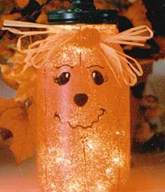Canning Jar Pumpkin Lights