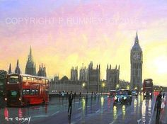 PETE RUMNEY FINE ART MODERN ACRYLIC OIL ORIGINAL PAINTING SUNSET OVER LONDON NEW in Art, Artists (Self-Representing), Paintings | eBay