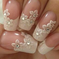 70 top bridal nails art designs for next year is part of Bride nails - 70 Top Bridal Nails Art Designs for next year Beautifulart Nailart 3d Nail Designs, French Nail Designs, Diy 3d Nails, 3d Nail Art, Gel Nails, Coffin Nails, Acrylic Nails, Nail Polish, Toenails