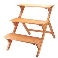 Etagere Plant Flower Pot Stand Ladder Wooden Garden Display 3 Tier Herbs Storage