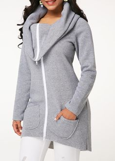 A Complete Guide to Choosing The Perfect Coat That Complements Your Taste This Season - Best Fashion Tips Textiles, Maternity Tops, Grey Sweatshirt, Fashion Outfits, Womens Fashion, Hooded Jacket, Stylish, Zipper, Sweatshirts