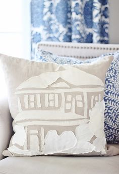 How To Make a Linen Scrap Pillow of Your House - Thistlewood Farm