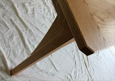 Oak dining table 'gothic light' made for an 'arts and crafts' cottage (leg detail).  Handmade by davidtowers.biz