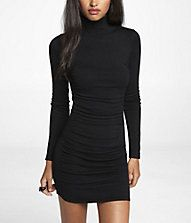 MOCK NECK RUCHED SWEATER DRESS