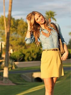denim blouse & mustard colored skirts