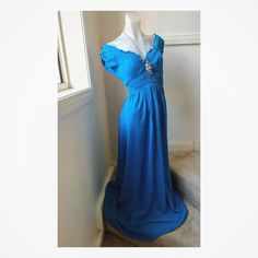 Size 8: Aqua Blue off-the-shoulder long ruched sleeve dress AVAILABLE