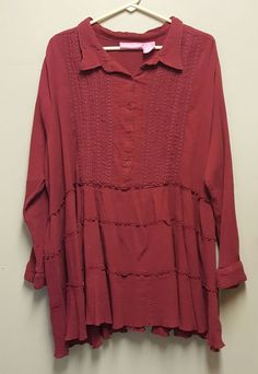 Woman Within 3X Maternity Red Ruffled Tiered Shirt Top Blouse Cotton Burgandy #WomanWithin #Blouse #Casual