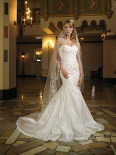 Shantung Strapless Sweetheart Gathered Bodice Mermaid Wedding Dress
