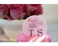 24 Personalised, Edible Cupcake Toppers Happily Ever After Design at www.marikasgallery.co.uk